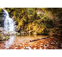 Autumn waterfall at Navarre in Spain Photographic Print