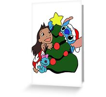 Cute Lilo and Stitch on christmas Greeting Card