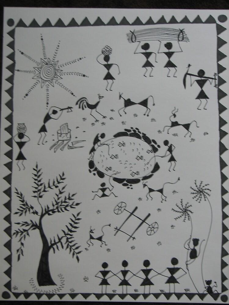 Village Life-Warli-Folk art-Tribal Painting from India by ampar81