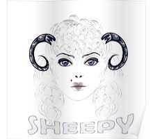 Sheep as Girl with Horns Poster