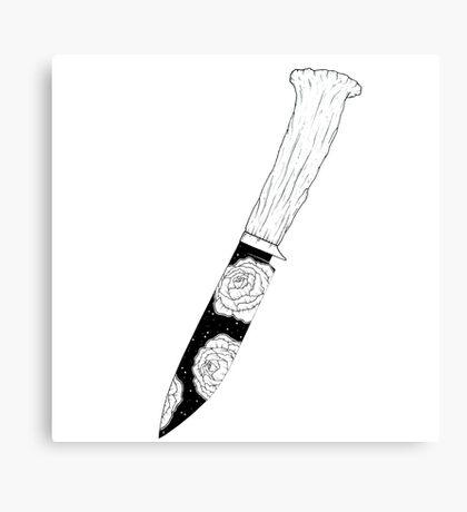 Peony Blade Deer Antler Hunting Knife Canvas Print