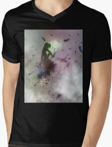Abstract girl and raven Mens V-Neck T-Shirt