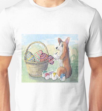 Corgi dog decorating Easter eggs Unisex T-Shirt