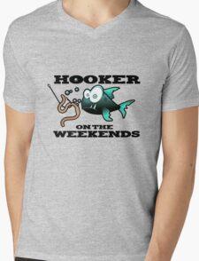 Hooker on the Weekends Fishing Mens V-Neck T-Shirt