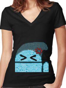 BeanieDroidv1.6 Women's Fitted V-Neck T-Shirt