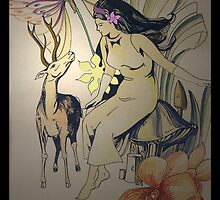 Maria Makiling And A Deer by Carlo Cesar Rodillas