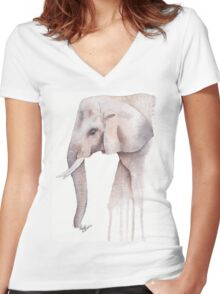 Willow - Watercolour Elephant Women's Fitted V-Neck T-Shirt