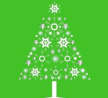 Christmas Tree Made Of Snowflakes On Green Background by taiche