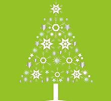 Christmas Tree Made Of Snowflakes On Lime Background by taiche