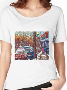 EARLY MONTREAL WINTER SCENE WITH YOUNG COUPLE WALKING CANADIAN PAINTING Women's Relaxed Fit T-Shirt