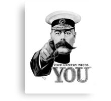 World War one, Lord Kitchener, WW1, Your Country needs you! Canvas Print