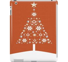 Christmas Tree Made Of Snowflakes On Orange Background iPad Case/Skin