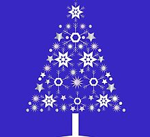 Christmas Tree Made Of Snowflakes On Purple Background by taiche