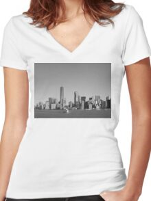 Black & White New York Women's Fitted V-Neck T-Shirt