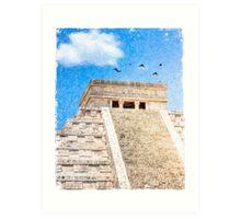 Mayan Magic - The Iconic Pyramid At Chichen Itza Art Print
