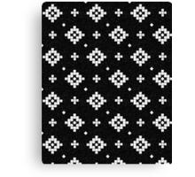 Arizona - tribal black and white native design in geometric blocks Canvas Print