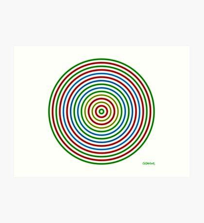 Vibrating Concentric Color Circles Art Print