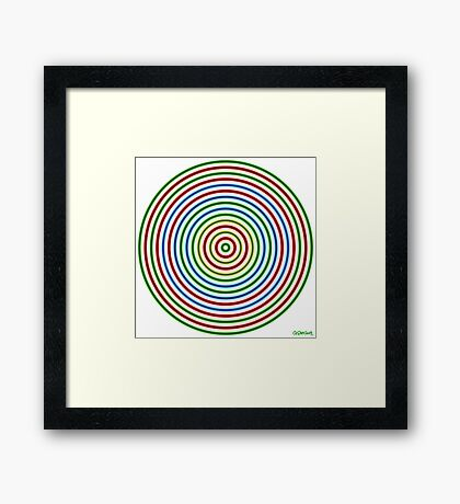 Vibrating Concentric Color Circles Framed Print