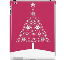 Christmas Tree Made Of Snowflakes On Red Background iPad Case/Skin