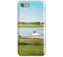 Yarmouth Port Fishing Boat in Green and Blue iPhone Case/Skin