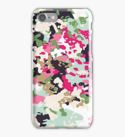 Finch - modern abstract painting in blush, pink, mint, gold, white iPhone Case/Skin