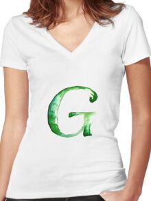 Alphabet G Women's Fitted V-Neck T-Shirt