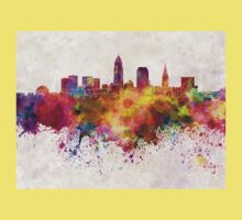 Cleveland skyline in watercolor background Kids Clothes