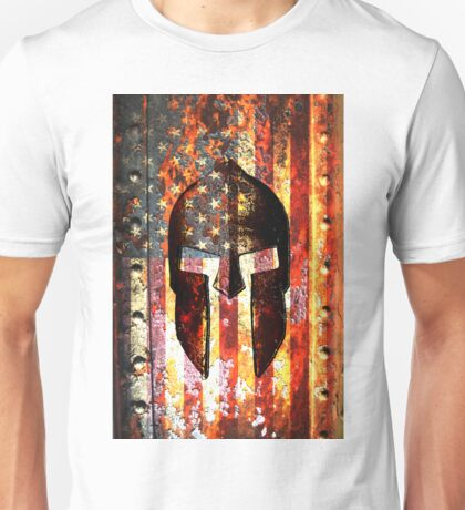 American Flag And Spartan Helmet On Rusted Metal Door - Molon Labe Unisex T-Shirt