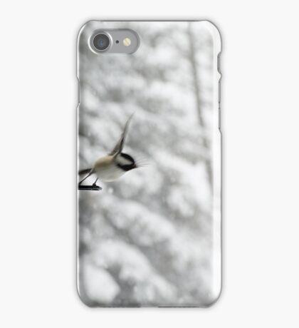 Chickadee Taking Flight in Winter iPhone Case/Skin