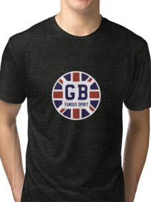 Famous British Spirit - Union Jack Flag T-Shirt Tri-blend T-Shirt