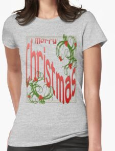 Merry Christmas With Stylized Holly With White Background T-Shirt