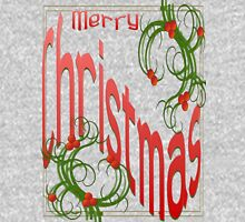 Merry Christmas With Stylized Holly With White Background Womens Fitted T-Shirt