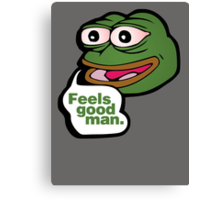 Feels good man - frog meme Canvas Print
