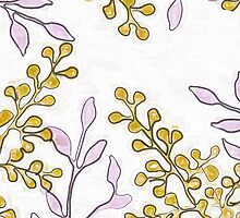 Gold Buds and Purple Leaves Print by red addiction