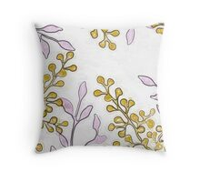 Gold Buds and Purple Leaves Print Throw Pillow
