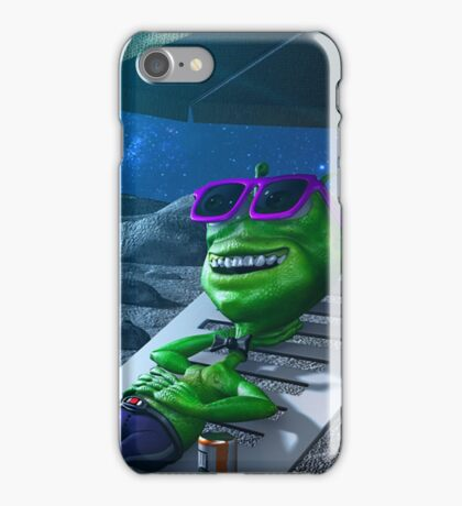 Alien Taking a rest in the Moon iPhone Case/Skin
