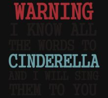 WARNING I KNOW ALL THE WORDS TO CINDERELLA Kids Clothes