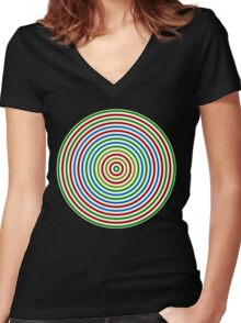 Vibrating Concentric Color Circles Women's Fitted V-Neck T-Shirt