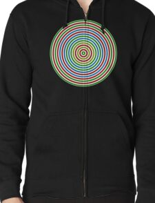 Vibrating Concentric Color Circles Zipped Hoodie
