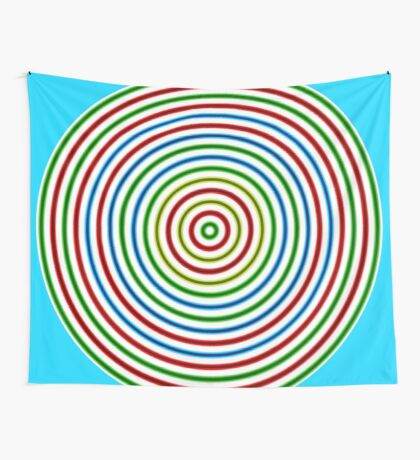 Vibrating Concentric Color Circles Wall Tapestry
