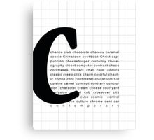 Art Print - Words with Letter C - Words and Letters Typography Canvas Print