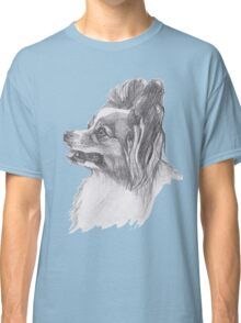 Classic Papillon Dog Profile Drawing Classic T-Shirt