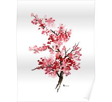 Cherry blossom branch art print watercolor painting, sakura artwork Poster