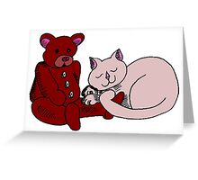 Cat With Teddy Bear Greeting Card