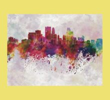 Minneapolis skyline in watercolor background Kids Clothes