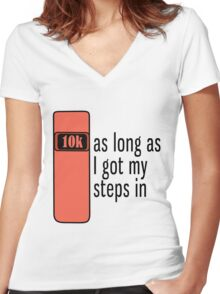 As Long As I Got My Steps In - Orange Women's Fitted V-Neck T-Shirt