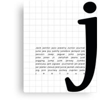 Art Print - Words with Letter J - Words and Letters - Typography Canvas Print