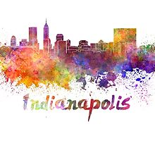 Indianapolis skyline in watercolor by paulrommer