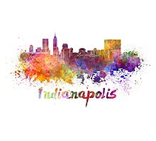 Indianapolis skyline in watercolor Photographic Print