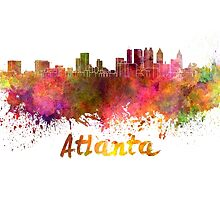 Atlanta skyline in watercolor by paulrommer